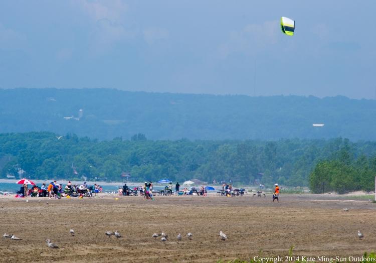 kite flying at presqu'ile provincial park