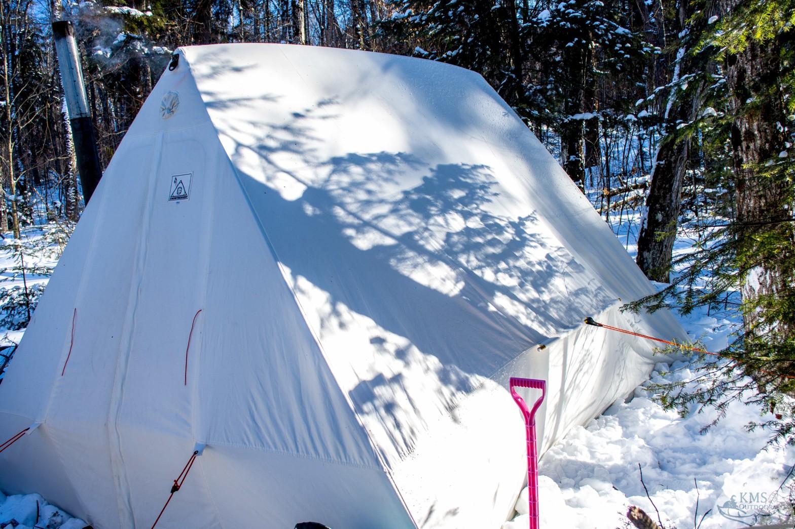 Snowtrekker set up outside of Mew Lake
