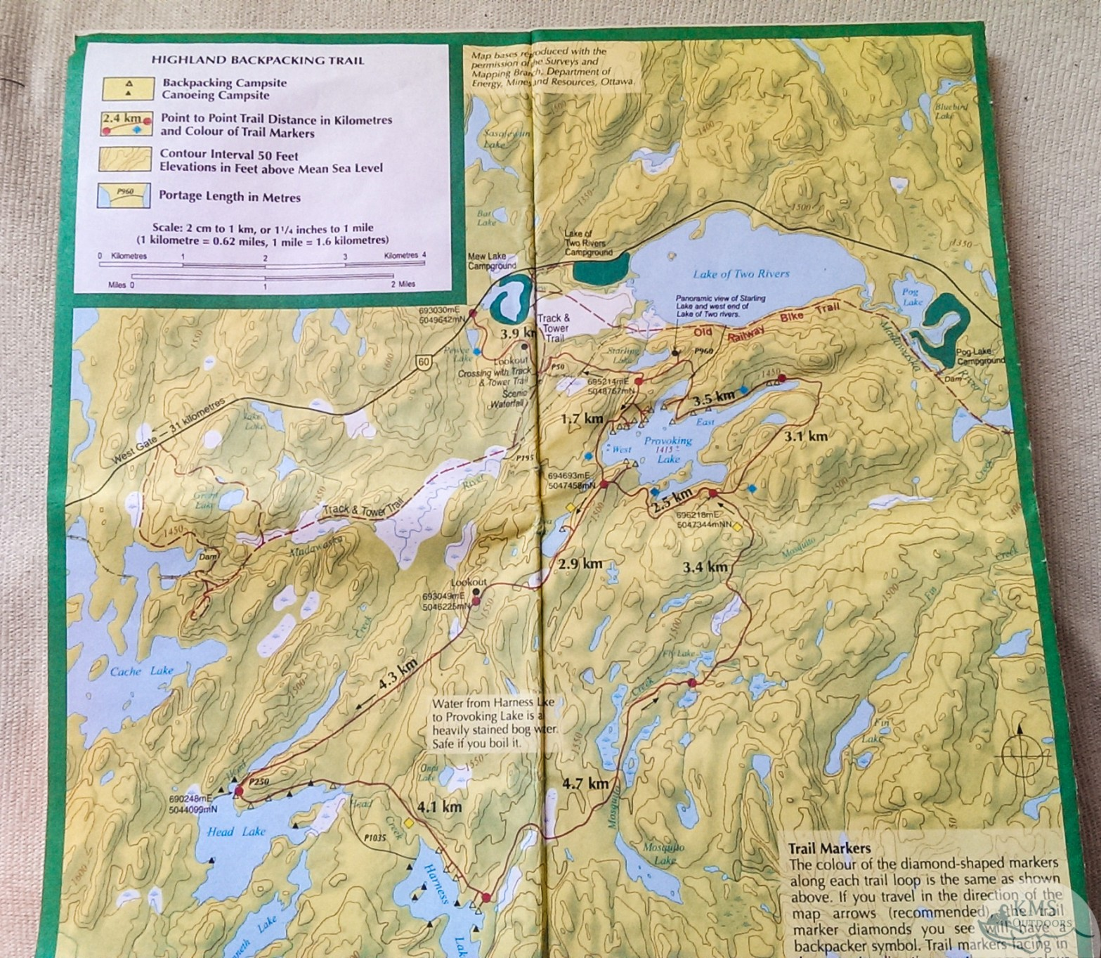 Highland Backpacking Trail map available for purchase at Algonquin Park